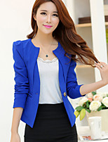 Women's Solid Blue/Red/Black/Yellow Blazer , Party/Work Notch Lapel Long Sleeve Ruched