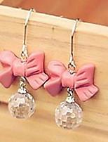 Pink Bow Droplets Drop Earrings