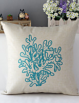 Country Style Sea Coral Patterned Cotton/Linen Decorative Pillow Cover