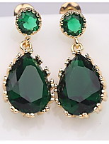 Elegant Teardrop Shape Emerald Swiss Cubic Zirconia Bridal Women's Dangling Earrings
