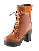 Damesschoenen Fleece/Kunstleer Blokhak Platform/Modieuze laarzen Laarzen Formeel/Casual Zwart/Blauw/Geel/Rood