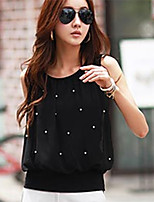 Women's Polka Dot Pink/White/Black Blouse , Casual Round Neck Sleeveless