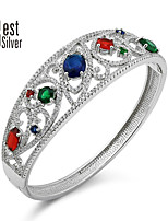 Sterling Silver Inlaid Colored Gemstones Bracelet S925 Silver Plated Platinum Bracelet Luxurious Z009