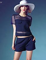SEXY TOY ® Women's Micro-elastic Short Sleeve Regular T-shirt (Organza)