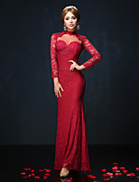 Formal Evening Dress - Burgundy/Royal Blue/Black Trumpet/Mermaid High Neck Floor-length Lace/Charmeuse