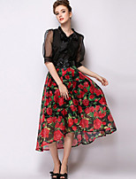 Women's Casual Micro-elastic Translucent Midi Skirts (Twill)