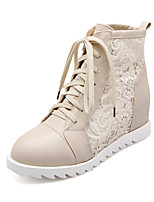 Women's Shoes Platform Platform/Fashion Boots/Round Toe Boots Dress Black/White/Beige