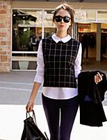 Women's Patchwork Black/Gray Blouse , Shirt Collar Long Sleeve