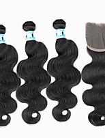 4pcs / lot reine brasilianische Körperwelle Haarverlängerungen 3 Bündel unverarbeitete Menschenhaar-Webart mit 1pcs Spitzeschliessen