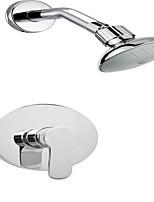 Wall-Mounted Polished Chrome Single Handle ABS Overhead Shower Bathroom Bath Faucet Shower Set