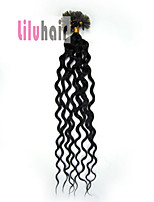 20inch 0.5g/s 100s Curly Pre-bonded Keratin Nail U Tipped Remy Human Hair Extensions Color #01 Jet Black 50g