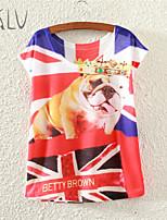 Women's Crown Shar Pei Print Casual Stretchy Short Sleeve Regular T-shirt (Polyester)