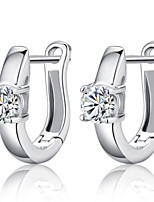 Women's Fashion Vintage Silver Hoop Earrings With Cubic Zirconia