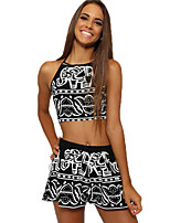 Women's Casual Sexy Elephant Printing Sleeveless Two-Piece Pants