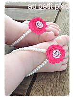 Shabby Flowers Baby Barefoot Sandals Fashion Baby Girl Summer Shoes Newborn Flower First Walkers Shoes 3 pair / lot
