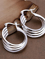 Sterling Silver Earring Hoop Earrings Wedding/Party/Daily 2pcs