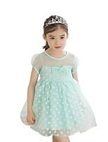 Summer Kids Girls Wave Dot Lace Mesh Bow Princess Wedding Party Dresses (Cotton/Mesh)