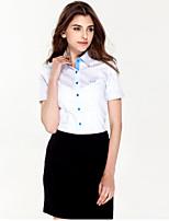 JAMES Summer Women's Anti-UV Ventilate Blue/Purple-White Strips Short Sleeve Shirt/ Blouse Business Casual  Hot Fashion