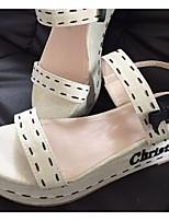 Women's Shoes Synthetic Wedge Heel Wedges/Open Toe Sandals Casual Beige