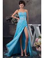 Formal Evening Dress - Pool Petite A-line Sweetheart Floor-length Satin