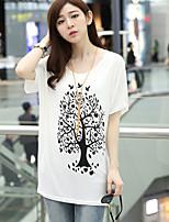 Women's Casual Work Micro Elastic Short Sleeve Regular T-shirt (Cotton)