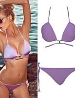 Women's Push-up Solid/Bandage/Geometric Halter Bikinis Strappy Bandage Swimsuit(Polyester/Spandex)
