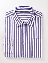 JAMES Men's  100% Cotton Business Long Sleeve Shirt with New Hot  Casual Fashion Deep Purple-White Strips