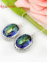 Antique Oval Fire Rainbow Mystic Topaz Gem Bezel Setting Earring Drop Earrings For Wedding Party Daily Casual 1pair