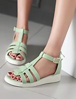 Chaussures Femme - Extérieure / Décontracté - Vert / Rose / Blanc - Talon Plat - Gladiateur - Sandales - Similicuir
