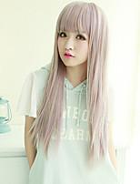 European and American Fashion Girl Gray Straight Hair Natural Wigs