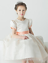 Balo Elbisesi Diz-uzunluğunda Tül Kısa Kol Çiçek Kız Elbise