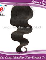 16 color natural de cierre virgen pieza del cuerpo del cierre del cordón del pelo humano de la onda del pelo brasileño