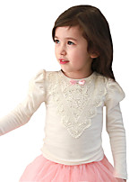 Spring Fall Korean Kids Girls T-shirts Puff Long Sleeve Cotton Triangle Lace Bow Tee(Cotton Blends)