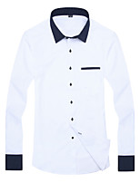 2015 Casual  Long Sleeve Turn-down Collar Contrast Blue Collar and White Solid Men Dress Shirt (15131)