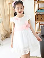 Girl's Summer Dumbo Sleeve Lace Stitching Sleeveless Dresses (Chiffon)