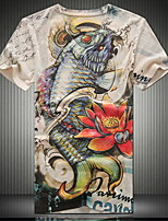 Men's Fashion Casual V-neck 3D Carp Digital Printing Short Sleeved T-shirt