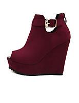 Women's Shoes Faux Suede Wedge Heel Peep Toe Sandals Outdoor/Casual Black/Burgundy