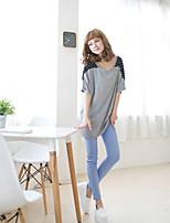 Women's Polka Dot Red/Gray T-shirt , Round Neck Short Sleeve