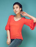 Women's Solid Blouse , V Neck Short Sleeve