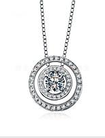 Interlocking Pendant Circle Fixed Mount SONA Simulate Diamond Girl Necklace Pendant Sterling Silver 18K White Gold Plate