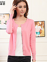 Women's Solid Blue/Pink/Red/White/Black/Green/Gray Cardigan , Casual Long Sleeve