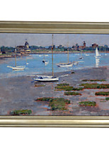 Theodore Robinson,Low Tide, Riverside Yacht Club Framed Canvas Print
