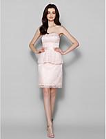 Homecoming Knee-length Lace Bridesmaid Dress - Pearl Pink Sheath/Column Sweetheart