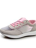 Zapatos de mujer Tul/Ante Sintético Tacón Plano Punta Redonda Sneakers a la Moda Casual Negro/Rosa