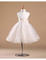 Flower Girl Dress - Princesa Coquetel Sem Mangas Cetim/Tule