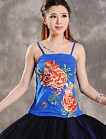 Women's Blue/Red/White/Black Vest Sleeveless Embroidery