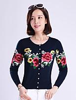 YINGYIYANG® Women's Korean Round Collar Jacquard Fit Long Sleeve Cardigan Knitwear