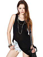Women's Sexy Casual Cute Plus Sizes Micro Elastic Sleeveless Long T-shirt (Cotton)