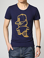 Masculino Camiseta Casual/Tamanhos Grandes Estampado Algodão/Poliéster Manga Curta Masculino