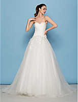 Lan Ting A-line/Princess Wedding Dress - Ivory Sweep/Brush Train Sweetheart Tulle